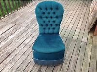 VINTAGE STYLE JADE GREEN HIGH BACKED SEAT / CHAIR - NEEDS RECOVERING