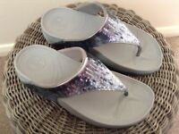 FITFLOP Electra Classic Silver Sequin Sandal