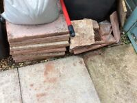 16 full patio slabs and also some broken ones. Some clippings but must be bagged by buyer