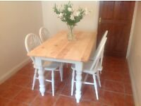 Shabby Chic/Farm House Table and Four Wheel Back Chairs