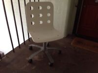 Ikea white bent plywood office swivel chair with pneumatic adjustable height