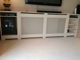 Radiator Cover. Gorgeous piece of furniture with useful shelving built in - solid and very heavy.