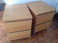 Bedside drawers, ikea malm, iak