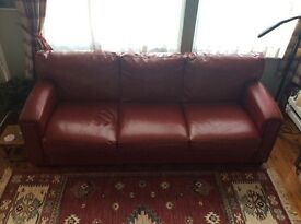 Red leather sofa set. 3 seater and 2 seater, Art Deco style.