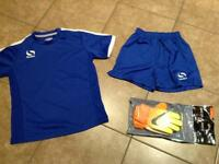 Children's football kit and gloves