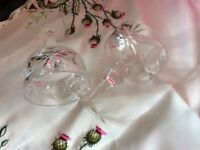 Two pairs of crystal glasses