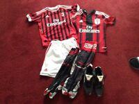 Boys Genuine AC Milan Football kit and extras