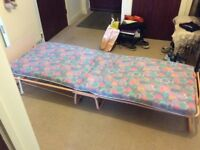 Free fold up single bed with spring base and mattress
