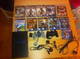 PS2 With 2 controllers all connections and games