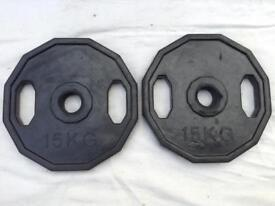 2 x 15kg Dual-Grip Rubber Olympic Weights