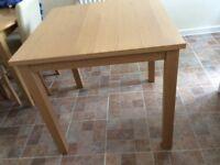 Oak colour square table & 4 chairs