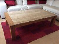 Oak and travertine coffee table