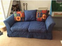 Good quality blue sofa bed (metal action) - removable covers - in good condition