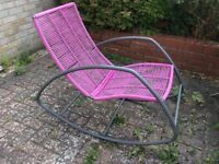 Garden rocking chairs X2 black/pink