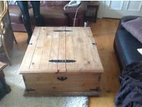 LARGE PINE CHEST TABLE ,GOOD CONDITION,JUST NEEDS A POLISH,DUNFERMLINE CAN DELIVER OR COLLECT £45