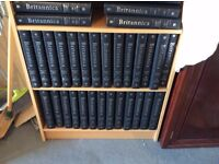 Set of 31 volumes of Encyclopedia Britannica. Leather bound with silver embossing.