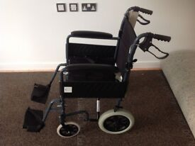Lightweight Travel Folding Wheelchair with Brakes.As New.