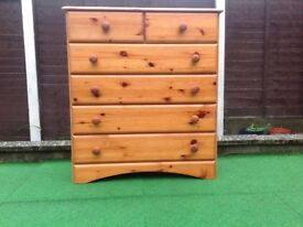 Pine chest of SIX DRAWERS