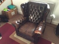 Vintage chesterfield suite and footstool