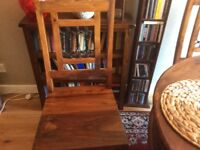 Beautiful Sheesham wood round dining table and two chairs