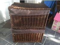 2 large lidded wicker baskets