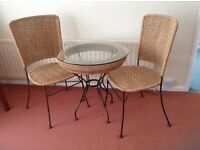 Conservatory breakfast table with glass top 65cm diameter and 2 chairs
