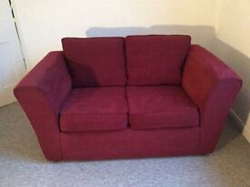 Two dark red sofas - 2 seater and 3 seater