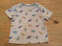 Boy's grey dinosaur top t-shirt John Lewis age 2-3 years