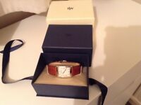 Raymon Weil unisex watch with tan leather strap, Extra black leather strap. As new condition in box.