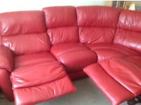 1 year old DFS Red Leather Corner Suite with 2 Powered reclining seats
