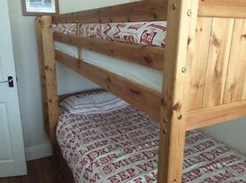 Kidspace Georgie Solid Pine Bunk Bed Frame with Storage and Guest Bed