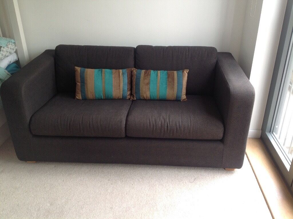 Habitat Porto Sofa Bed 2 Seater In Charcoal Grey Very Good Condition