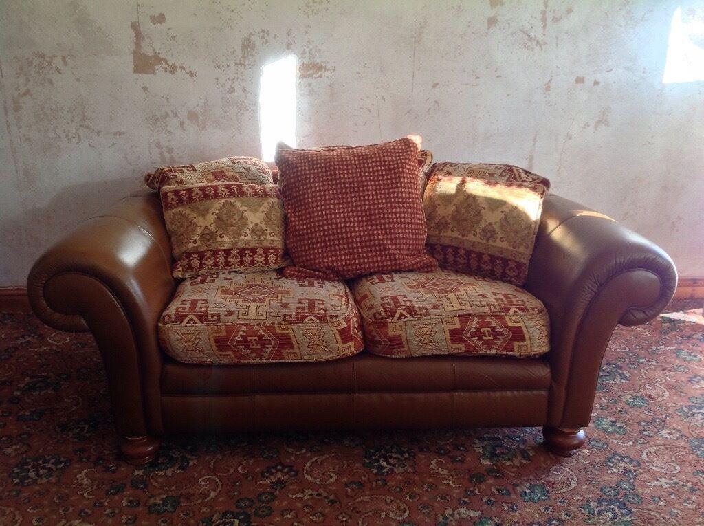 Tetrad Leather And Kilim Fabric 2 Seater Sofa In Bury