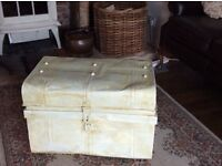 Shabby chic metal trunk