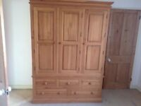 Solid Pine 3 door wardrobe with shelving and 5 draws