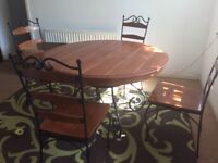Solid Wood with Cast Iron Table and 4 chairs