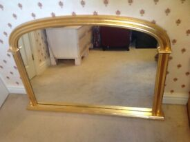 Gold leaf overmantle mirror