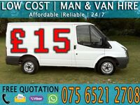 CHEAP MAN WITH VAN HIRE - HOUSE/FLAT/FURNITURE MOVING◦COLLECTION◦DELIVERY◦MOTORBIKE RECOVERY & MORE