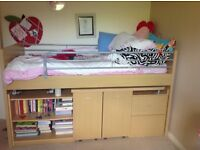 Cabin bed with extending desk, bookcase and drawers plus chair