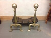 FOR SALE - Antique Fire Grate with Brass Finniels