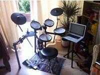 Roland TD4-KX Electronic Drums - Inc Gibraltar kick pedal, stool & laptop stand.