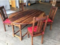 Quality solid oak folding large dinning table and four chairs that will last a lifetime
