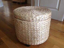 Straw covered Storage stool/table