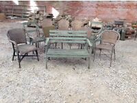 Quantity of garden chairs and bench 10 chairs