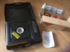 Rolson portable stove + 1 gas canister already installed & 7 new gas canisters