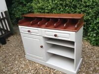 Unusual painted dresser perfect for B&B or Tea Rooms. Painted in grey with stained waxed top