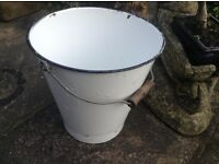 Vintage White Enamel Bucket