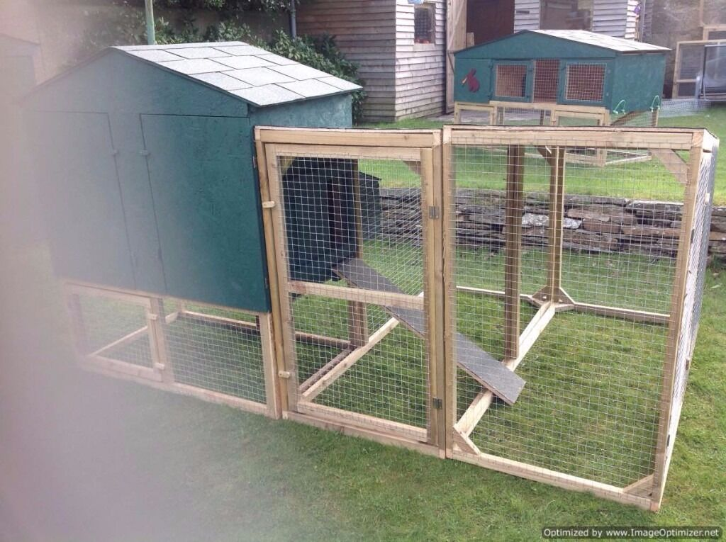 chicken coop with double run