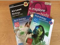 AS and A2 Biology Text books, A2 Rebision Guide and E.Explore Human Body