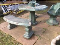 Concrete garden table,bench and 2 chairs